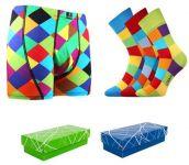 Pánské ponožky LONKA Decube mix A 3 páry + boxerky LONKA Kevin káro