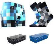 Pánské ponožky LONKA Decube mix B 3 páry + boxerky LONKA Kevin modrá