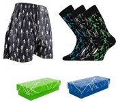 Pánské ponožky LONKA Deskeleton 3 páry + trenýrky LONKA Jack boxers skeleton