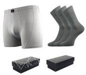 Ponožky LONKA Dypak světle šedá 3 páry + boxerky LONKA Bernard světle šedá