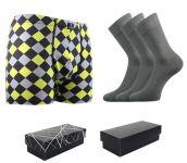 Ponožky LONKA Dypak světle šedá 3 páry + boxerky LONKA Kevin modal D