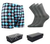 Ponožky LONKA Dypak světle šedá 3 páry + boxerky LONKA Kevin modal I