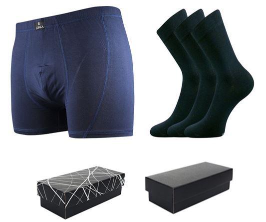 Ponožky LONKA Dypak tmavě modrá 3 páry + boxerky LONKA Bernard tmavě modrá