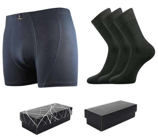 Ponožky LONKA Dypak tmavě šedá 3 páry + boxerky LONKA Bernard tmavě šedá