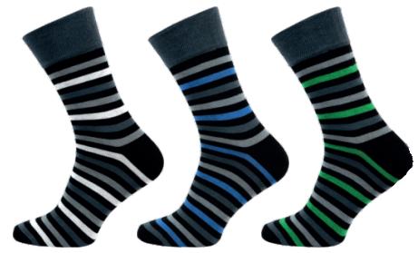 Pánské ponožky NOVIA celoproužek - 3 páry