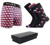 Pánské ponožky LONKA Wearel 3 páry + boxerky VoXX Kvido červená