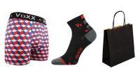 Pánské ponožky VoXX Mayor černá + boxerky VoXX Kvido červená
