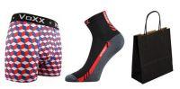 Pánské ponožky VoXX Pius černá + boxerky VoXX Kvido červená