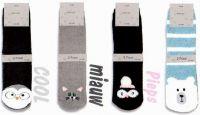 Žinylkové ponožky zvířátka s ABS - 2 páry