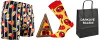 Pánské ponožky LONKA Pizza + boxerky LONKA Kevin fastfood