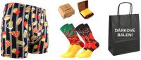 Pánské ponožky LONKA Hamburger + boxerky LONKA Kevin fastfood