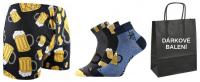 Ponožky VoXX Piff vzor pivo 3 páry + trenýrky LONKA Karlos PIVO černá